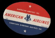 RARE Airline label luggage labels American AA #200